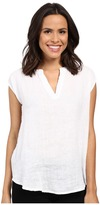 Allen Allen Linen Split Neck Top