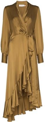 Zimmermann asymmetric midi wrap dress