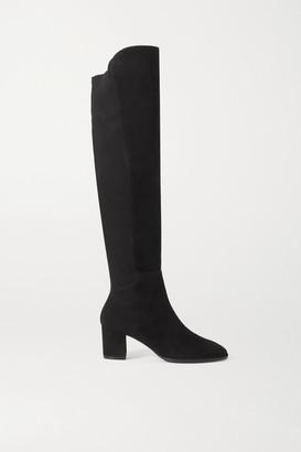 Stuart Weitzman Harper Suede And Neoprene Knee Boots - Black