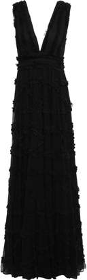 Just Cavalli Frayed Ruffled Gathered Crepon Gown