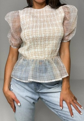 Missguided Cream Plaid Organza Puff Sleeve Shirred Top