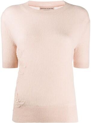 Ermanno Scervino Embroidered Short-Sleeve Cashmere Jumper