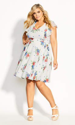 City Chic Poppy Floral Dress - white