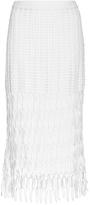 Rosetta Getty White Cotton Hand Crocheted Pencil Skirt