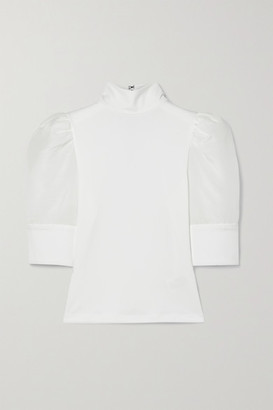 Alice + Olivia Mckayla Crepe And Cotton And Silk-blend Voile Top - White