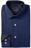 Report Collection Long Sleeve Slim Fit Stretch Dot Dress Shirt