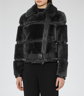 Reiss Ellie Leather And Shearling Jacket