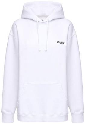 Vetements Oversized Logo Print Cotton Blend Hoodie