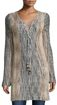 Calypso St. Barth Maviale Metallic Ribbed Lace-Up Tunic Sweater