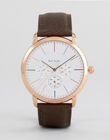 Paul Smith P10112 Ma Chronograph Leather Watch In Brown