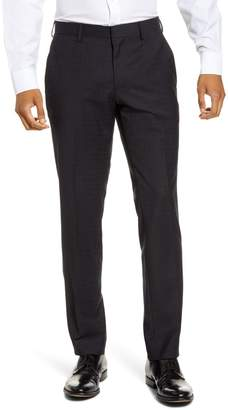 BOSS Genius Flat Front Plaid Wool Dress Pants