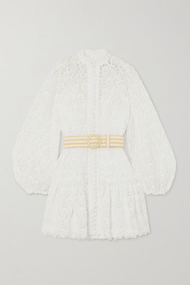 Zimmermann Belted Button-detailed Guipure Lace Mini Dress - Ivory
