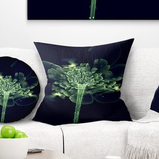 """East Urban Home Floral Fractal Flower in Air Throw Pillow Size: 16"""" x 16"""", Product Type: Throw pillow"""