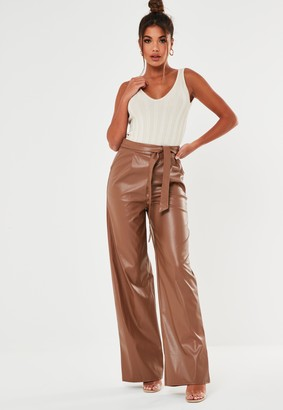 Missguided Toffee Faux Leather Wide Leg Trousers