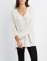 Charlotte Russe Shaker Stitch V-Neck Sweater