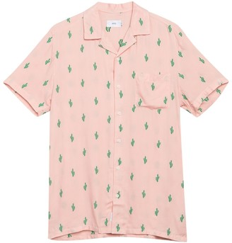 Onia Vacation Cactus Print Short Sleeve Shirt