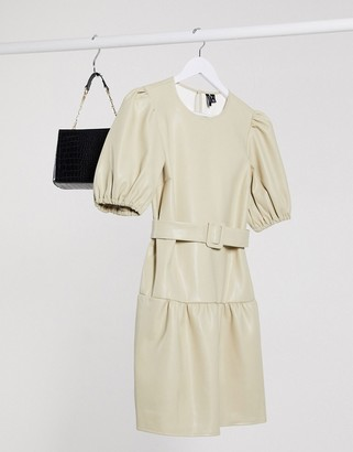 Vero Moda leather look dress with drop hem and puff sleeve in cream
