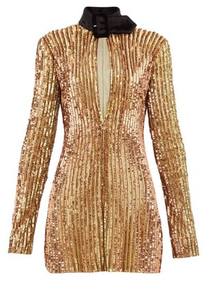 ATTICO Velvet-collar Sequinned Mini Dress - Gold