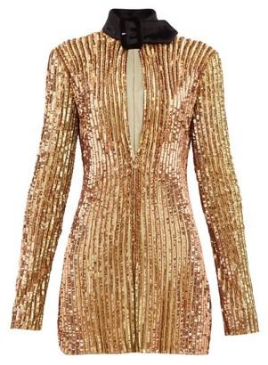 ATTICO The Velvet-collar Sequinned Mini Dress - Womens - Gold