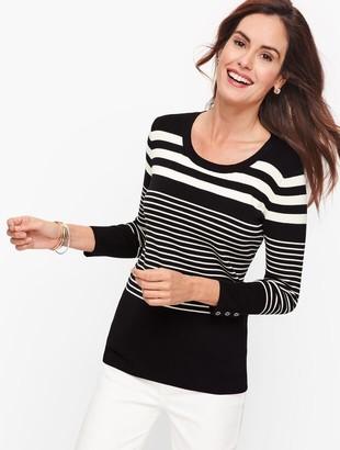 Talbots Button Cuff Sweater - Top Stripe
