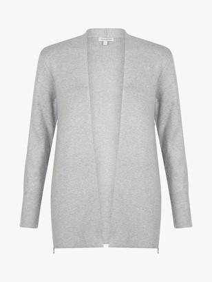 Monsoon Zip Side Open Front Cardigan, Grey Marl