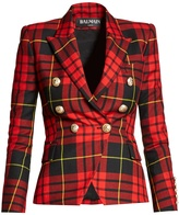 Balmain Double-breasted checked wool blazer