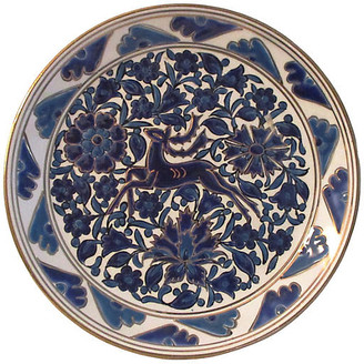 One Kings Lane Vintage Greek Blue Floral Gazelle Display Plate - Osprey Blu