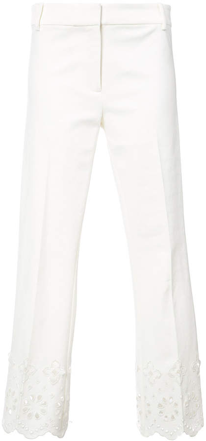 Derek Lam 10 Crosby Cropped Flare Trouser With Eyelet Embroidery