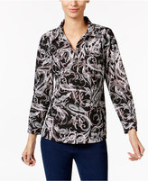 NY Collection Petite Printed Utility Blouse