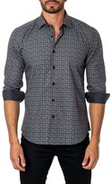 Jared Lang Men's Trim Fit Diamond Print Sport Shirt