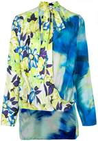 MSGM floral wrap-over blouse