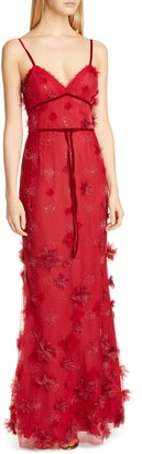 Marchesa Floral Applique Trumpet Gown