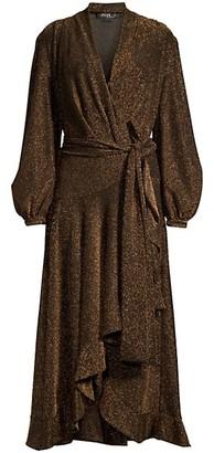 PatBO Metallic High-Low Wrap Dress