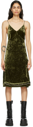 R 13 Green Velvet Back Tie Slip Dress