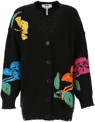 MSGM Floral Knitted Cardigan