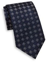 Saks Fifth Avenue Floral Diamond Pattern Silk Tie