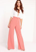 Missguided Tall Premium Crepe Wide Leg Pants Pink