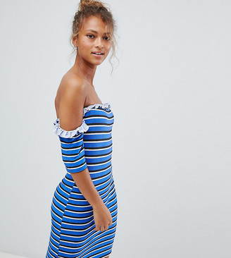 Wednesday's Girl off shoulder bodycon dress in stripe-Blue
