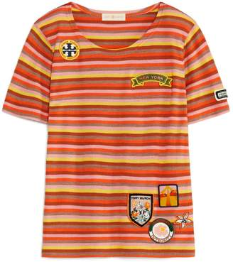 Tory Burch Striped Short-Sleeve Sweater