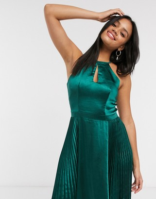 Chi Chi London keyhole satin midi dress in teal