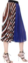 Mary Katrantzou Striped Plisse Techno Chiffon Skirt