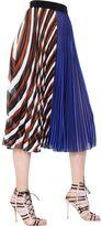 Mary Katrantzou Striped Plisse Techno Chiffon Skirt