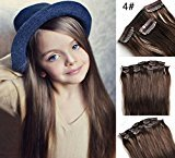 Romantic Angels 16'' Remy Brazilian Clip in on Hair Extensions Straight Human Hair 10pcs Set Medium Brown#4