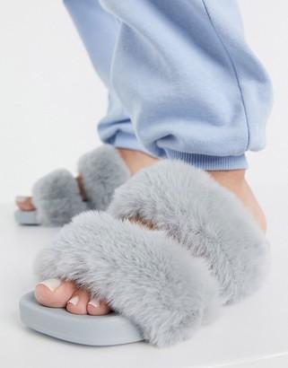Simmi Shoes Simmi London Bobbie faux fur slides in grey
