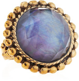 Stephen Dweck Rock Crystal Over Midnight Mother-of-Pearl Ring