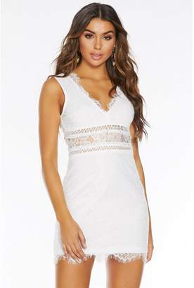 Quiz White Lace V Neck Bodycon Dress