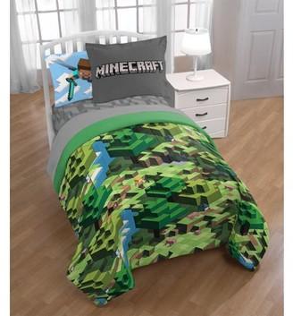 Minecraft Green Blocks Bed in a Bag Kids Bedding Set w/ Reversible Comforter