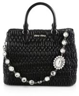 Miu Miu Nappa Crystal Quilted Leather Tote