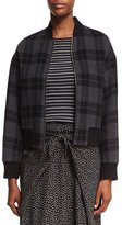 Vince Tonal Plaid Wool-Knit Bomber Jacket