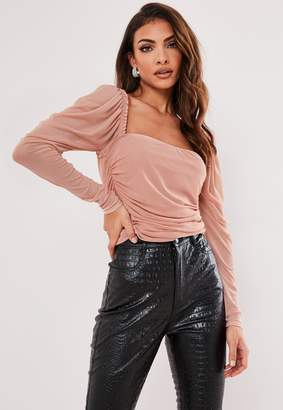 Missguided Blush Mesh Puff Sleeve Milkmaid Top